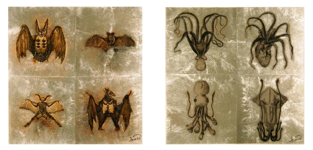 "Agnes Yau, ""Bitty Batties"" and ""Tentative Tentacles."" Reversed glass painting."