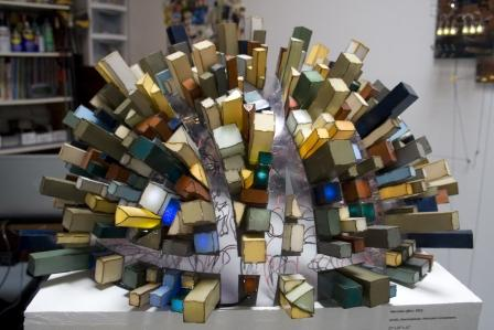 "Jamie Banes, ""Mercator effect,"" 2013. Acrylic, thermoplastic, electronic components."