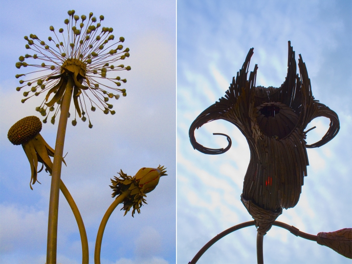 "Karen Cusolito: ""Dandelion"" (left) and ""Trumpet Flowers."" Recycled steel. Photos: Michael Singman-Aste"