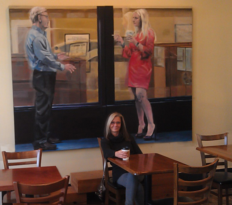 Gabriele Bungardt takes a break with her painting by that name, at Spritzers Cafe