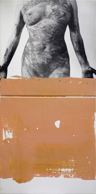 "KUNIE SUGIURA, ""Body Brush (study), 2008,"" pigment print, acrylic on canvas. Courtesy Leslie Tonkonow Artworks+Projects, New York."